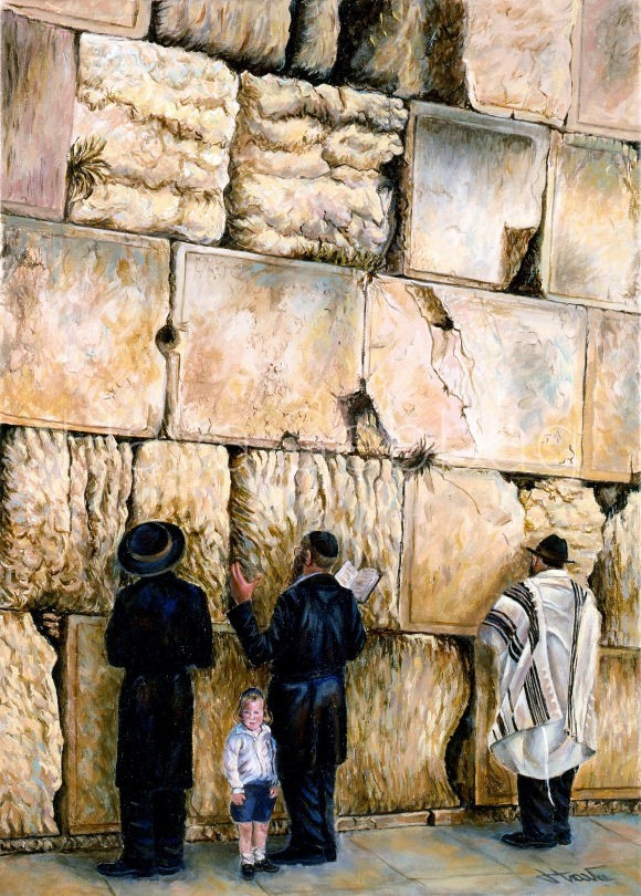 Davening at the Kotel - Judaica Painting - Hava Sebbag Fine Art