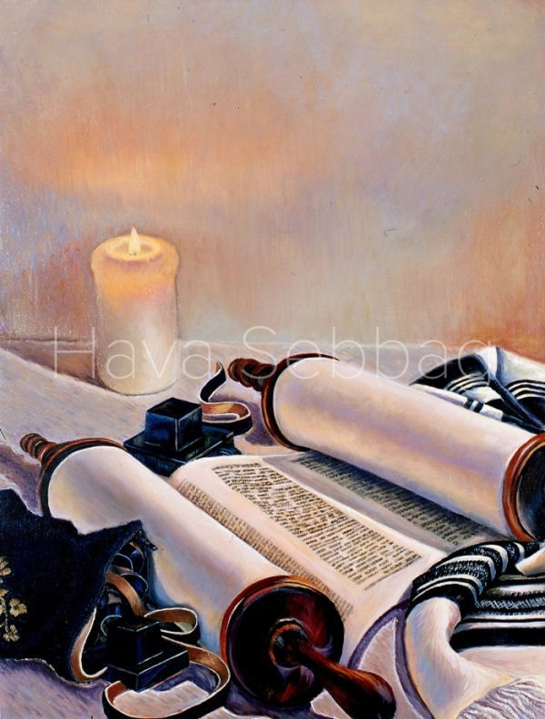 Light of the Torah - Judaica Painting - Hava Sebbag Fine Art