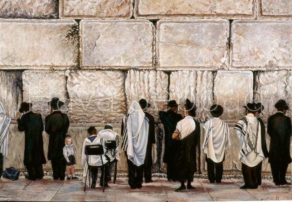 Morning Prayer at the Kotel - Judaica Painting - Hava Sebbag Fine Art