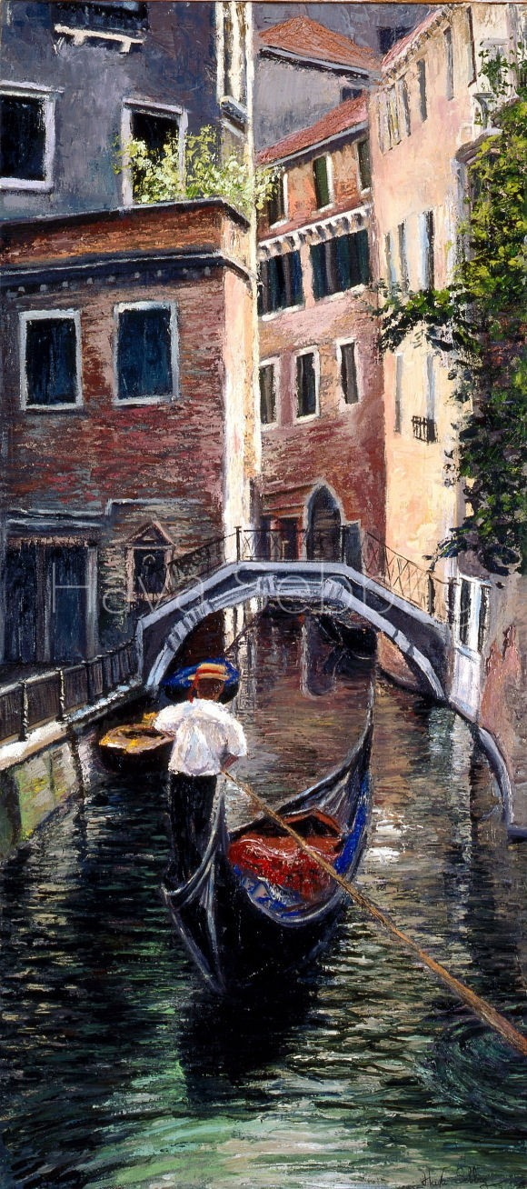 Proemenade a Venise - Oil on Canvas Painting - Hava Sebbag Fine Art