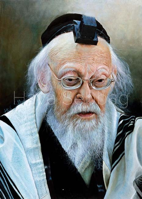 Rav Eliashiv Ztl - Judaica Oil on Wood Painting - Hava Sebbag Fine Art