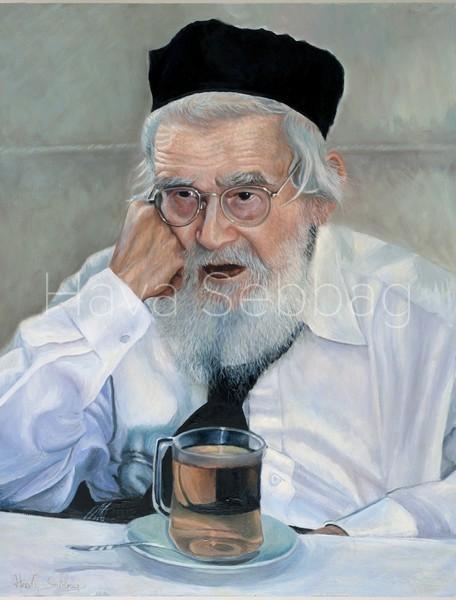 Rav Shach Ztl - Judaica Oil on Wood Panel Painting - Hava Sebbag Fine Art