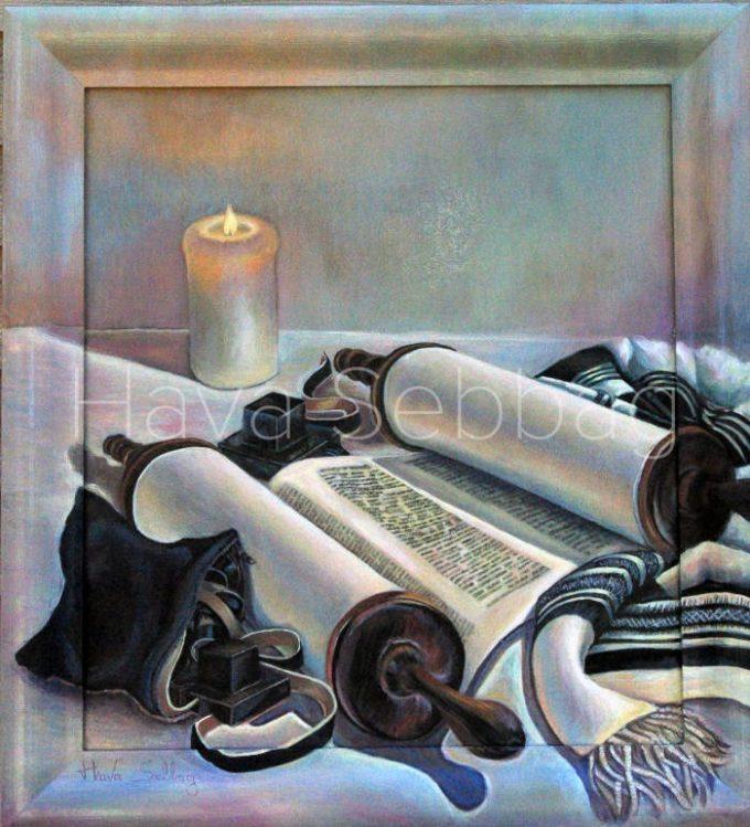 The Light of Torah - Judaica Oil on Wood Panel Painting - Hava Sebbag Fine Art