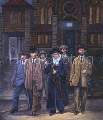 The Makover Rebber Ztl - Judaica Oil on Canvas Painting - Hava Sebbag Fine Art