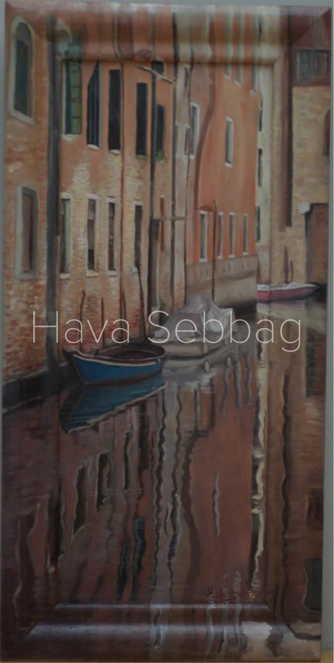 Couleures-de-Venise-Framed-Oil-on-Wood-Panel-Framed-Painting-Hava-Sebbag-Fine-Art