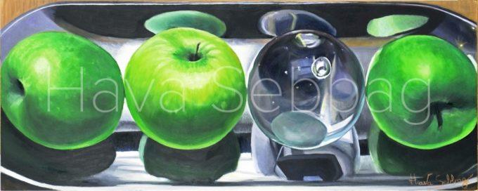 Reflection - Still Life Oil on Wood Panel Painting - Hava Sebbag Fine Art