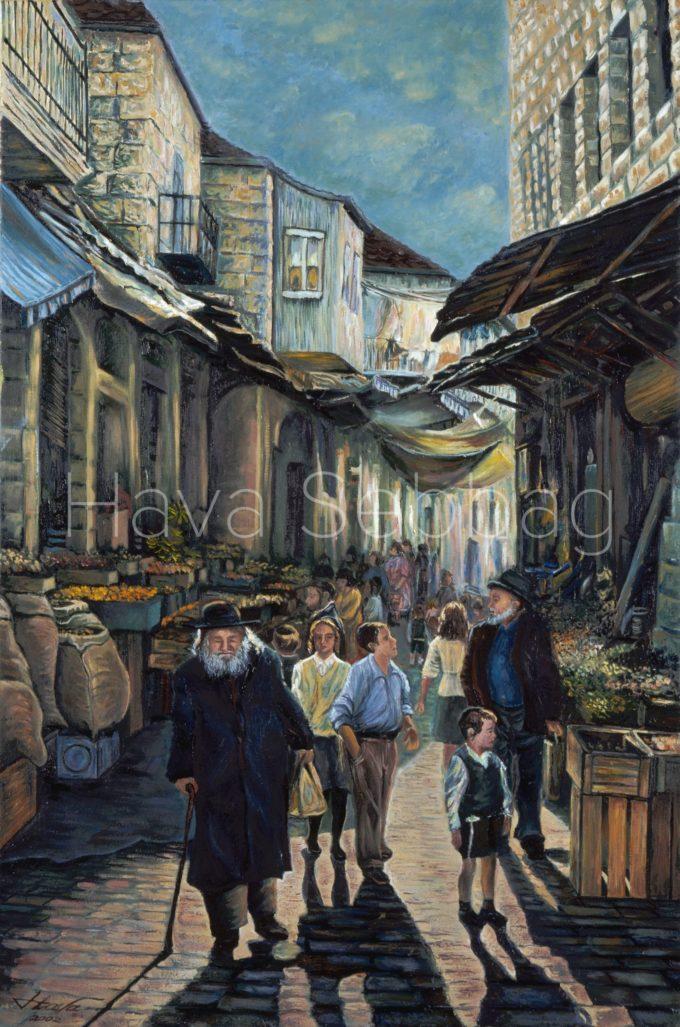 Shouk in Meah Shearim - Judaica Painting - Hava Sebbag Fine Art