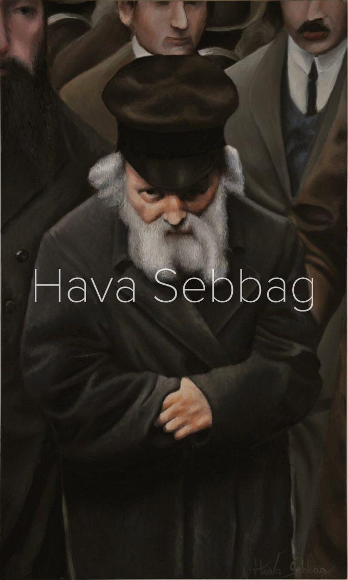 The Chofetz Chaim - Judaica Oil on Wood Panel Painting - Hava Sebbag Fine Art