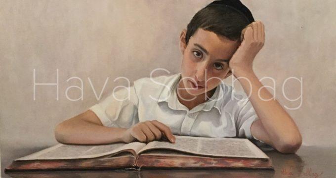 Yossef Chaim - Judaica Oil on Wood Panel Painting - Hava Sebbag Fine Art