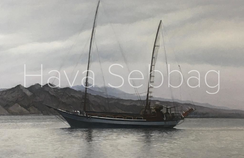 The Passing boat Original Oil Painting