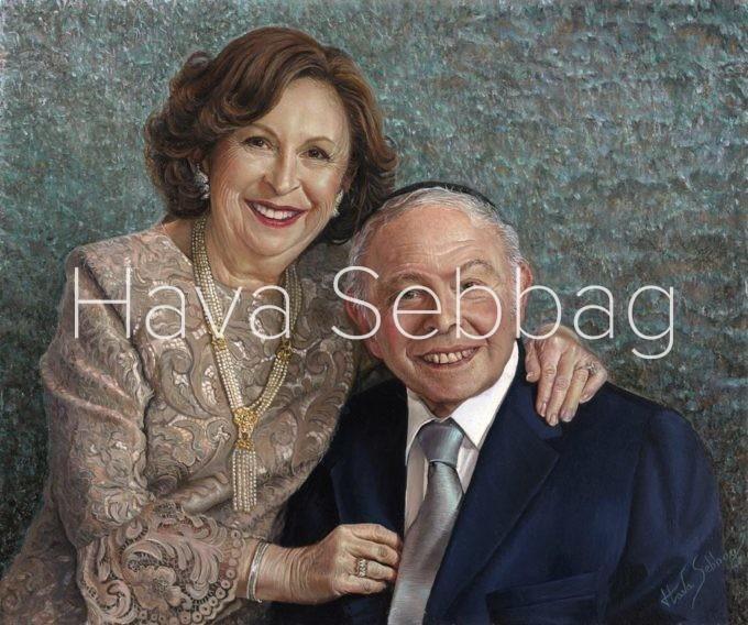 Rosa and Jackie Stimler - Judaica Oil on Wood Panel Painting - Hava Sebbag Fine Art