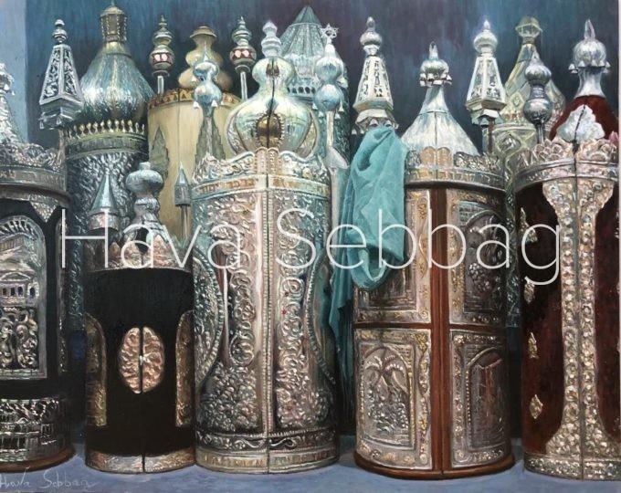 Glorious Legacy - Judaica Oil on Metal and Silver Lead - Hava Sebbag Fine Art